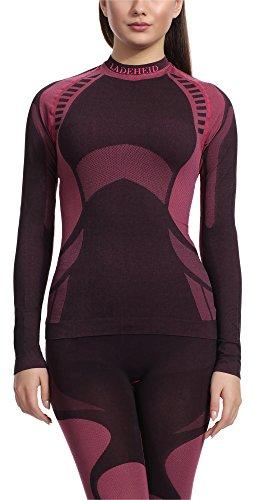Ladeheid Damen Funktionsunterwäsche Langarm Shirt Thermoaktiv (Schwarz/Rot, M)