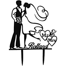 OULII torte di nozze Toppers - acrilico Wedding Cake Topper Mr Mrs sposa sposo matrimonio anniversario fidanzamento torta decorazioni