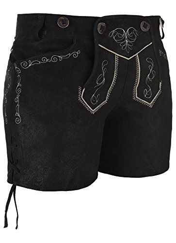 Lederhose 'Basta' 28 cm, schwarz mit Stegträger