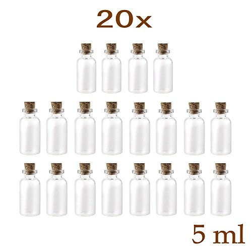 JZK 20 x 5ml Mini Glas Flasche mit Korkverschluss, kleine Glasflasche mit Kork, Mini Glasflasche mit Stopper (Glas-flasche Stopper)