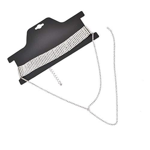 Floridivy Frauen-reizvolle Kristall-Halskette Lange Quaste Statement Mehrschichtige Strass Kette Kragen Partei Schmuck