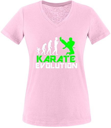 EZYshirt® Karate Evolution Damen V-Neck T-Shirt Rosa/Weiss/Neongr