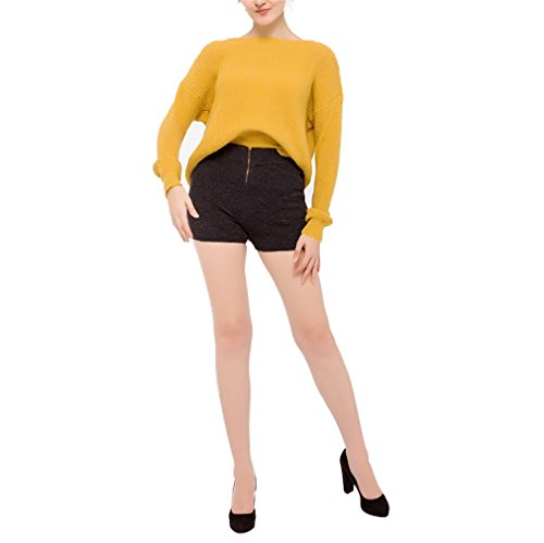 Honghu Femme Casual Manche Longues Halter Pull Crew Neck Cou Rond Sweater Jaune