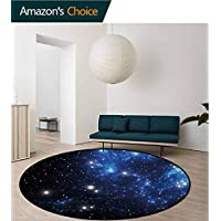 RUGSMAT Constellation Art Deco Pattern Non-Slip Backing Machine Washable Round Area Rug,Dusty Nebula Spiral Galaxy In Billions Of Stars Infinity Floor Mat Home Decor,Pale Coffee Mint Green White