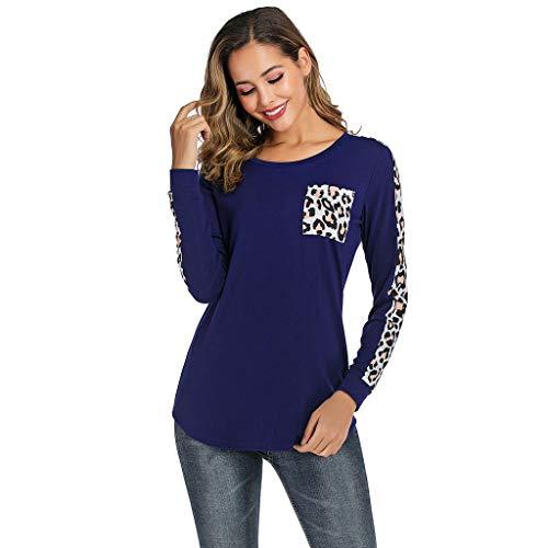 OVERDOSE Mokingtop Damen Floral Splice Printing Rundhals Pullover Bluse Tops T-Shirt (XL, A-b-Blue) -