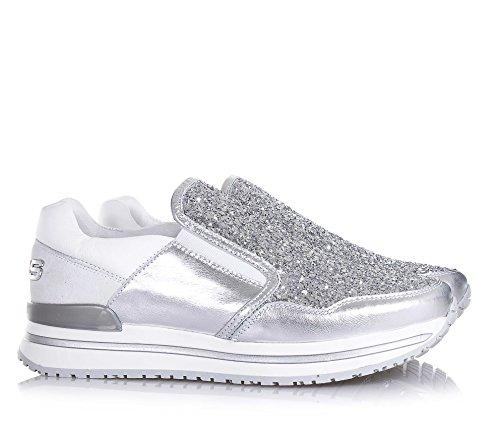 4US CESARE PACIOTTI -Silberner und weißer Schuh, aus Leder und Glitzern, die richtige Auswahl für diejenigen, Mädchen, Damen - 3