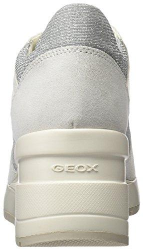 Geox D Zosma C, Scarpe da Ginnastica Basse Donna Grigio (Off White/lt Grey)