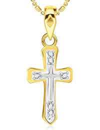 VK Jewels The Holy Cross Gold And Rhodium Plated Alloy CZ American Diamond Pendant With Chain For Women - P2041G...