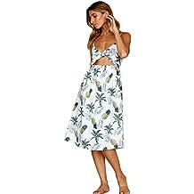 af8daed3a Vestidos boho hawaianos Vestido de playa bohemio de las mujeres vestido sin  mangas con cuello en