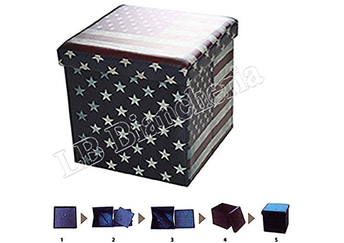 Puff contenitore poggiapiedi - Sgabello con coperchio cm 38x38x38 - BANDIERA AMERICANA U.S.A