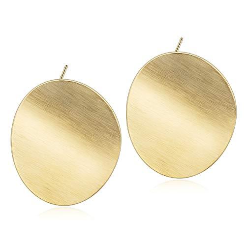WISTIC Damen Ohrringe Gold plattiert Edelstahl Geometrische Damen Ohrstecker weiblich mit Rosegold Gold Geschenk Nickelfrei (Oval Gold, 14 Karat (585) Bicolor) (Ohrstecker Gold Ohrringe)