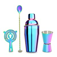 Alaojie Cocktail Shaker Bar Set Built-in Bartender Set with Double Jigger Mixing Spoon