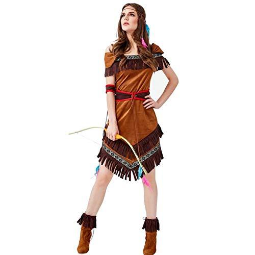 Für Erwachsenen Indischen Mädchen Kostüm - ASDF Indische Einheimische Bogenschützenspiele Halloweens
