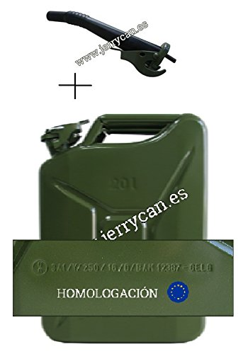 SPP Security JC20V+B Bidón de 20 l y Boquilla Vaciador, Color Verde Militar