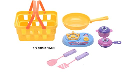 Kitchen Play set (7 PC) Childrens Kitchen Playset for Pretend Play For Boys Girls Kids Cookware Set with Shopping Basket