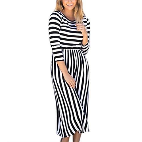 LSAltd Damen Plus Size Herbstkleid Streifen O Ausschnitt Casual Langarm Kleid (Schwarz, L) (Charmante Streifen-kragen)
