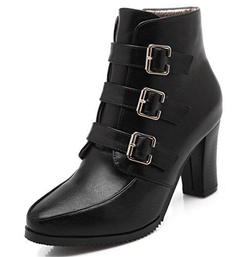 YE Damen Chunky High Heels Spitze Plateau Stiefeletten mit Blockabsatz Schnallen Reißverschluss Herbst Winter Short Ankle Boots Schuhe Schwarz