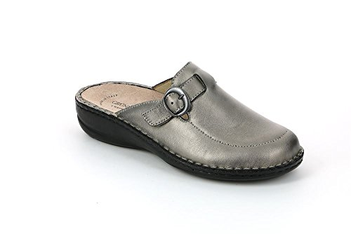 GRÜNLAND Ce0108, Pantofole Aperte sulla Caviglia Donna Argento (Peltro)