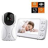 Bable Babyphone mit Kamera G1, 5 Zoll Großer Bildschirm Babyfon mit Fernbedienung Kamera, 300 Meter Signalreichweite, automatische Verfolgung, Ton und Temperaturalarm, Nachtsicht, Wiegenlied und Zweiwege Audio