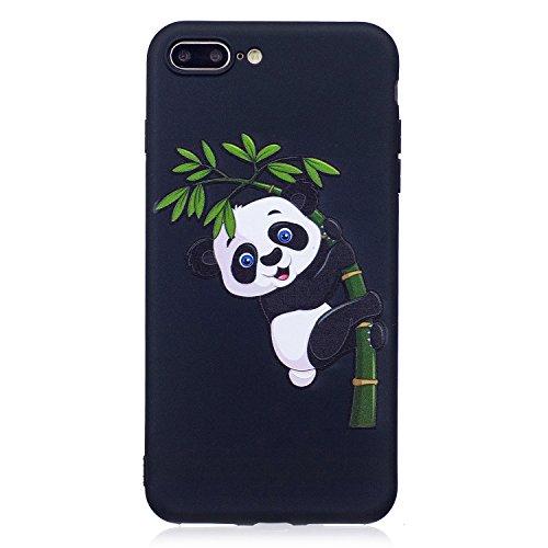 MAGQI Custodia Per Apple iPhone 7 Plus 5.5,Morbido UltraSottili Antigraffio Ammortizzante Antiurto Durevole Copertura Gel TPU Animale Modello 3D Cartoon Gomma Paraurti Conchiglia Semplice Silicone Pel Panda Mangia Bambù