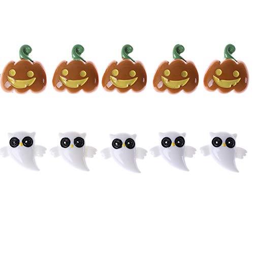 Haishell 10 Stück Harz Flatback Flatback Halloween Craft Verzierungen Zauberer Kürbis Laterne Geister Spider Skull Fledermaus Katze für Handy Dekoration DIY Zubehör Typ 7