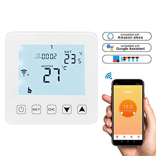 Konesky WiFi Smart Thermostat Digitaler Wasserheizungs-Thermostat APP-Steuerung Programmierbarer Temperaturregler Arbeiten Sie mit Alexa Google-Startseite -