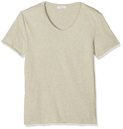 SELECTED HOMME Herren T-Shirt Shdmerce Melange SS O-Neck Tee NOOS, Beige (crockery), Large (Solid-jersey-henley)