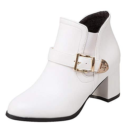 generisch Ankle Boots | Trendige Damen Stiefeletten | Blockabsatz Plateau | Damen Feste Keile Runde Kappe Große Schnalle Mittlerer Absatz Stiefel Schuhe -
