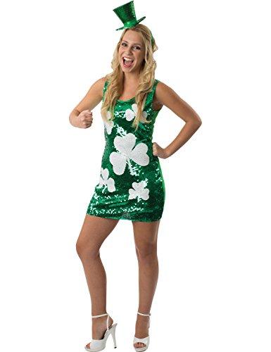 Grüne Damen Pailletten St Patrick Tag Irish Verkleidung Karneval Kostüm Large/Extra (Kostüm Dress Fancy Irish)