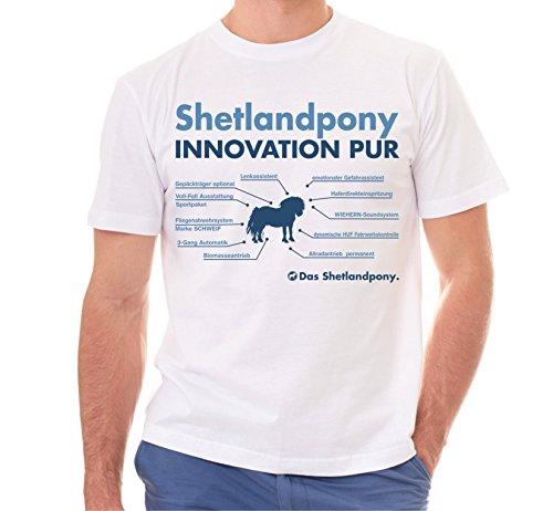 Siviwonder Unisex T-Shirt INNOVATION - SHETLANDPONY Pony Shetland - Pferde Fun reiten Weiß