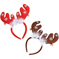 TOYVIAN 2 Pcs Diademas de Renos Lindos, Adornos de Fiesta de Navidad Accesorios para el Cabello para niños Adultos (Rojo y Caqui)