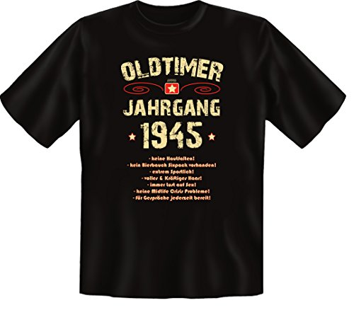Zum 71 Geburtstag, Oldtimer / Jahrgang 1945, Humorvolles Herren Fun-t-shirts Geschenk zum Geburtstag mit Sprüche-Motiv:, , Schwarz