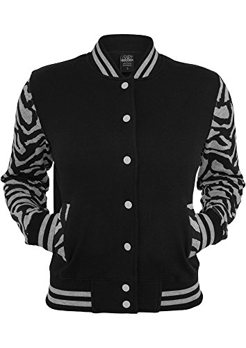 Urban Classics Ladies Zebra 2-tone College Sweatjacket Damen grau-schwarz grey/black, M