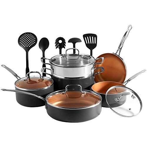 VonShef Set di Pentole Batteria da Cucina Ramate da 11 pz - Padella in alluminio color rame e Set di utensili