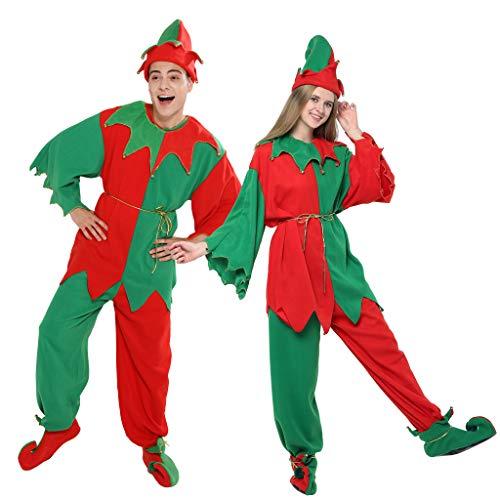 EraSpooky Weihnachts-Elfenkostüm für Erwachsene, Unisex, ganzes Set - - Large (Buddy Elf Für Erwachsenen Kostüm)