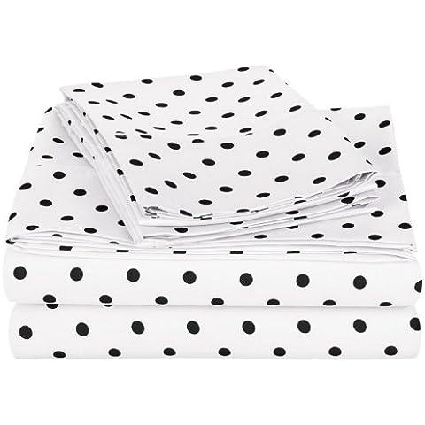 Impresiones 600 hilos de algodón juego de sábanas, doble, diseño de lunares, color blanco