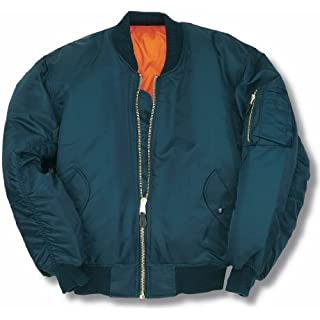 armyandoutdoors MA1 BOMBER JACKET WITH HEAVY BRASS ZIP (7XL, PETROL BLUE)
