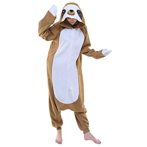 Mena Uk Damen-und Herren-Winter-Pyjamas Faultier-Stil Fleece Kapuzen Cosplay / Schlaf Tragen Kostüme Halloween ( Farbe : Braun , größe : L (Fleece Halloween Kapuzen Kostüme)