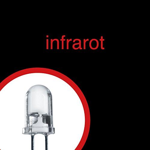 100x LED IR infrarot Leuchtdiode klar 5mm 20 mcd 1,2-1,5 V 940 nm + 12V -