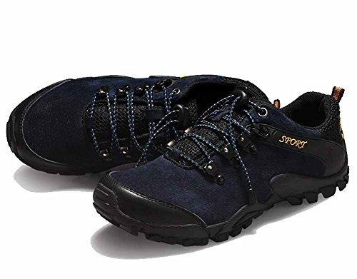 Uomini Scarpe Sportive Respirabili Scarpe Da Tennis Autunno Impermeabili Resistenza Indossare Esterno Pizzo Scarpe Da Escursionismo Blue