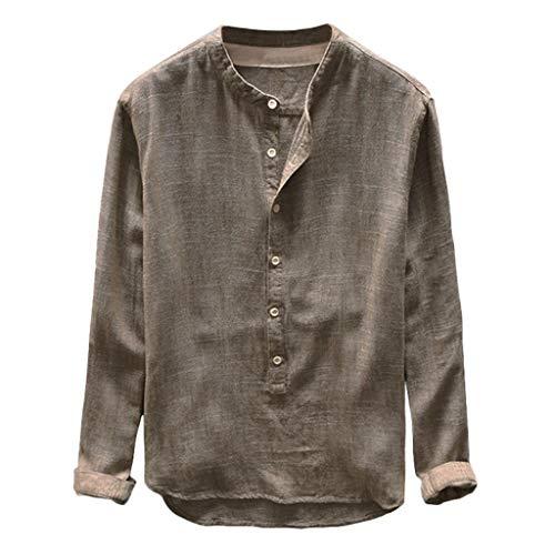 Freizeithemd Herren Slim Fit Sannysis Kragenloses Leinenhemd Sommer Langarm Regular Fit Hemd Stehkragen Einfarbig Freizeithemd für Männer -