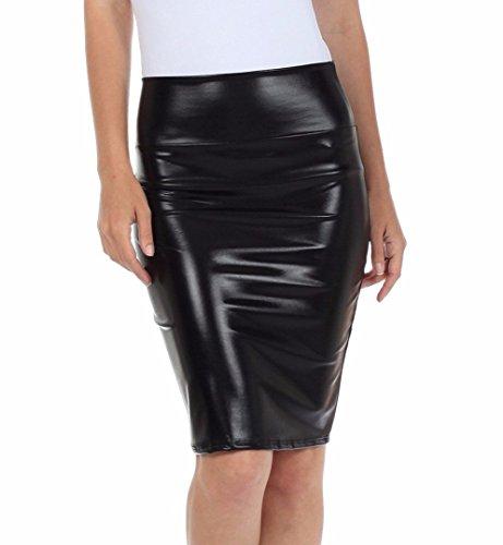 Nasse Flüssigkeit (Fast Fashion Frauen Hoch Taille Nasses Aussehen PVC Leder Glänzend Metallisch Flüssigkeit Bleistift Midi Rock)