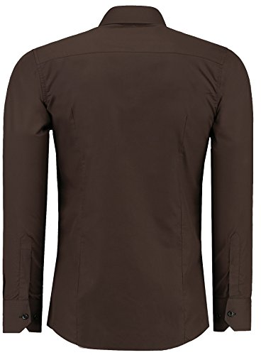 Jeel Herren Hemd Langarm Slim Fit / Figurbetont in schwarz, weiß,rot, gelb, blau uvm. Braun