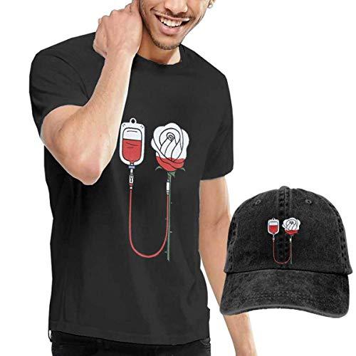 Herren Kurzarmshirt,T-Stücke,Blood Rose Short Sleeve T-Shirts Black (with A Cap) ComfortSoft Man's T Shirts Graphic Funny Round Neck Tee Basketball Hats Combination (T-shirt Basketball Short Graphic Sleeve)