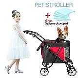 Wooce Haustier-Trolley – Hund Katze Buggy für Kinder, 4 Räder, stoßfest, Vorderrad, 360 ° drehbar, langlebig, atmungsaktiv, faltbar,, unterwegs mit 5 Haustier-Pads