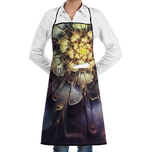 QIAOJI Unisex verstellbare Kochschürze mit Tasche, Blumen-Licht, Latzschürze, Küchenschürze, verstellbare extralange Bänder zum Grillen, Backen und Kochen, Schwarz - Verführerisch Natürliche Licht