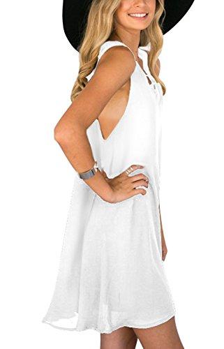 Summer Mae Robe de Soirée Classique et Elegante Sans Manches pour Femme Blanc