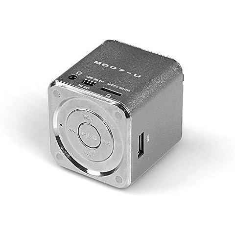 Mini Altavoz Portátil MD Music Player con FM Radio Micro SD USB MP3 para Sony Xperia C3, E1, E3, E4, M2, SP, T3, Z1 Compact, Z2, Z3, Z3 Compact, Z4 (con alta calidad de audio, micrófono incorporado) Plateado