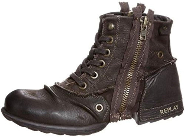 Replay Clutch Dunkel Braun Herren Side Zip Leder Army Stiefel SchuheReplay Clutch Brown Ankle Leather