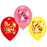 "Minnie Mouse Happy 4th Birthday 9"" Latex Balloons x 6"